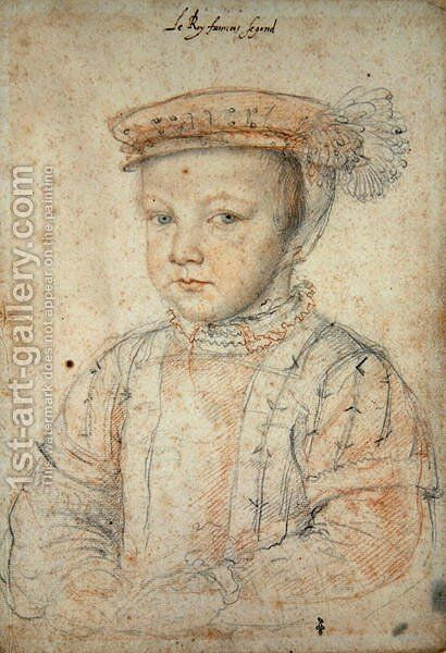 The Dauphin Francois de France (1544-60) future King Francois II, 1552 (2) by (studio of) Clouet - Reproduction Oil Painting