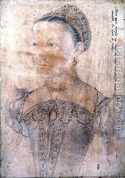 Portrait of Mary Stuart, Queen of Scotland (1542-87) at the age of Nine, July 1552 by (studio of) Clouet - Reproduction Oil Painting