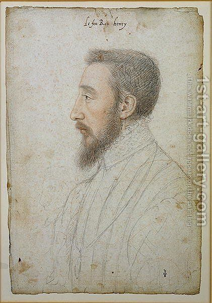 Henri II (1519-59) c.1536 by (studio of) Clouet - Reproduction Oil Painting