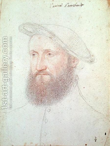 Portrait of Claude d'Annebault (1490-1552) Admiral and Marshal of France, c.1535 2 by (studio of) Clouet - Reproduction Oil Painting
