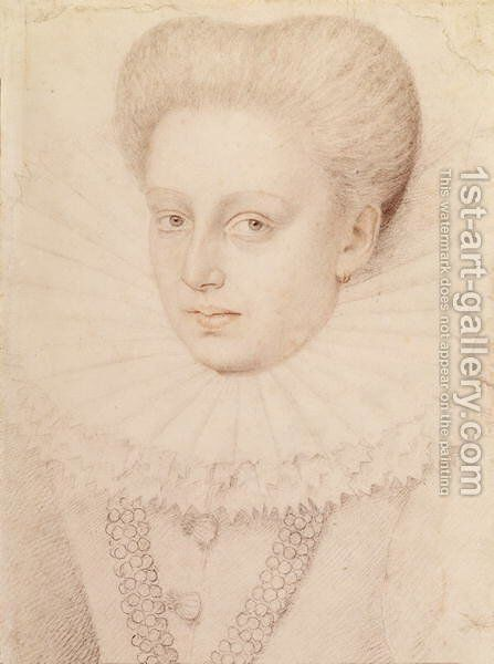 Marie de Lorraine, Duchesse d'Aumale in 1576 by (studio of) Clouet - Reproduction Oil Painting