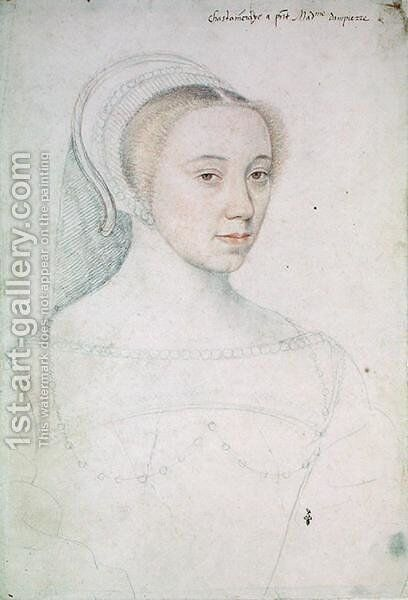 Jeanne de Vivonne (1516-83) c.1535 2 by (studio of) Clouet - Reproduction Oil Painting