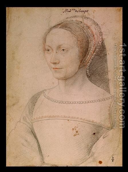 Anne de Pisseleu (1508-80) c.1540 by (studio of) Clouet - Reproduction Oil Painting