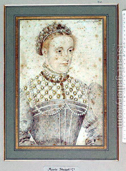 Portrait presumed to be Mary Queen of Scots (1542-87) c.1560 by (studio of) Clouet - Reproduction Oil Painting
