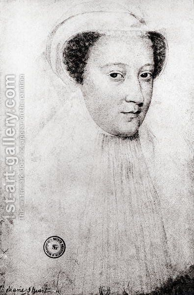 Mary, Queen of Scots (1542-87) in white mourning, 1560 by (after) Clouet, Francois - Reproduction Oil Painting
