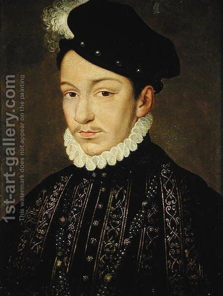Portrait of Charles IX (1550-74) 1560-72 by (after) Clouet, Francois - Reproduction Oil Painting