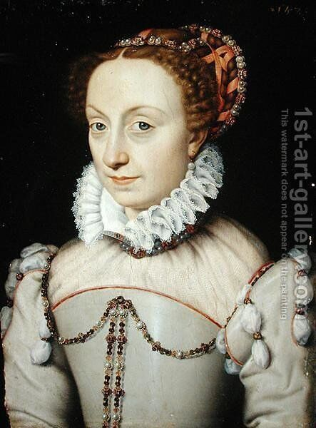 Jeanne III d'Albret (1528-72) Queen of Navarre, 1570 by (attr. to) Clouet, Francois - Reproduction Oil Painting