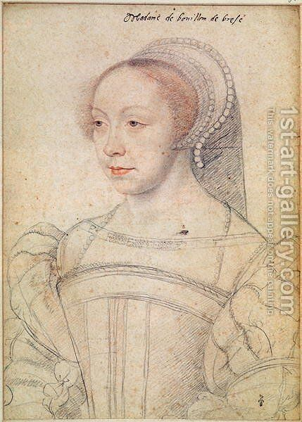 Portrait of Francoise de Breze (c.1519-74) c.1550 by (attr. to) Clouet, Francois - Reproduction Oil Painting