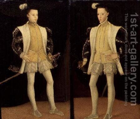 Left to right Francis II (1544-60) and Charles IX (1550-74) of France by Anonymous Artist - Reproduction Oil Painting