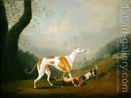 Greyhound with a Spaniel Puppy and Dead Hare by Daniel Clowes - Reproduction Oil Painting