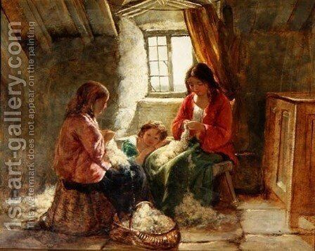 A Welsh Interior, 1856 by Edward John Cobbett - Reproduction Oil Painting
