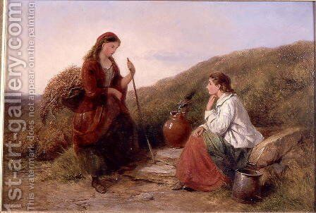 Two Young Ladies at the Well by Edward John Cobbett - Reproduction Oil Painting