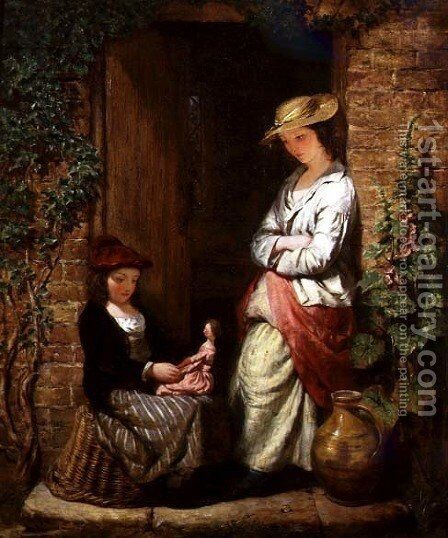 Playing with Dolly by Edward John Cobbett - Reproduction Oil Painting