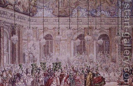 The Masked Ball at the Galerie des Glaces on the Occasion of the Marriage of the Dauphin to Marie-Therese, 17th February 1745 by Charles-Nicolas II Cochin - Reproduction Oil Painting