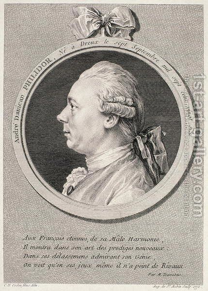 Portrait of Francois-Andre-Danica Philidor (1726-95)  1772 by (after) Cochin, Charles Nicolas II - Reproduction Oil Painting