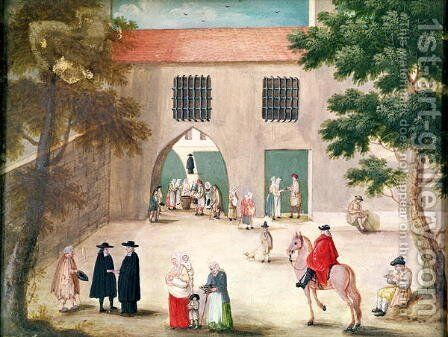 Distributing Alms to the Poor, from 'L'Abbaye de Port-Royal', c.1710 by (after) Cochin, Louise Madelaine - Reproduction Oil Painting