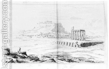 South view of the Acropolis, Athens, from the left bank of the Ilissus, from 'Topography of Athens' by (after) Cockerell, Charles Robert - Reproduction Oil Painting