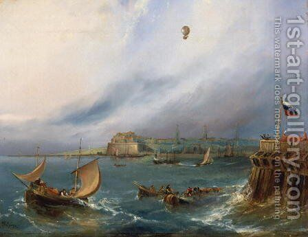 The First Balloon Crossing of the English Channel, 7th January 1785, c.1840 by E.W. Cocks - Reproduction Oil Painting