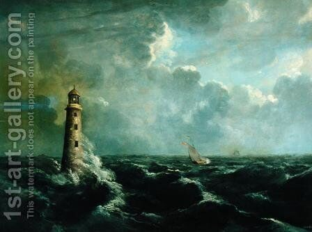 Seascape with Lighthouse by Charles Codman - Reproduction Oil Painting