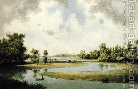 West River, New Haven, Connecticut, c.1854-60 by Benjamin H. Coe - Reproduction Oil Painting