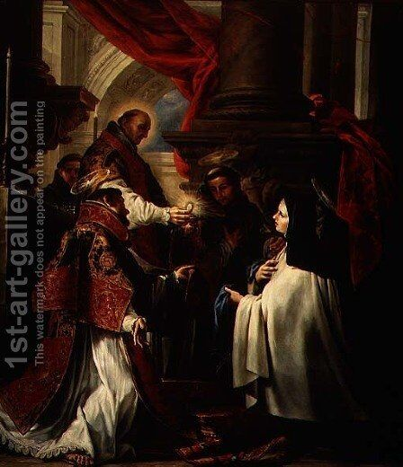 Communion of St. Teresa of Avila (1515-82) c.1670 by Claudio Coello - Reproduction Oil Painting