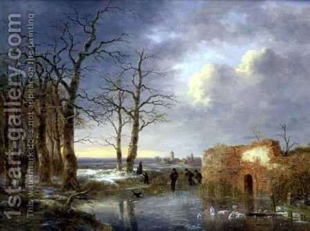 Skaters on a Frozen River by Jean Baptiste Coene - Reproduction Oil Painting