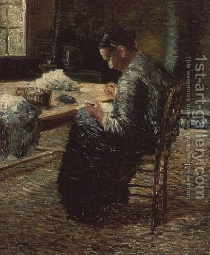 Portrait of the Artist's Mother Sewing, 1885 by Charles Angrand - Reproduction Oil Painting