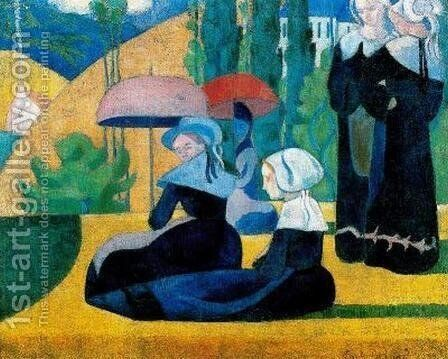 Breton Women in the Shade, 1892 by Emile Bernard - Reproduction Oil Painting