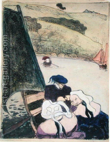 Bretons in a Boat, from the series 'Les Brettoneries', 1889 by Emile Bernard - Reproduction Oil Painting