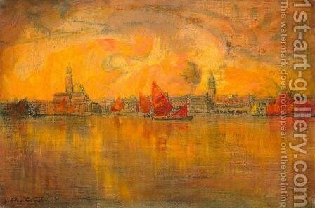 View of Venice from the Sea, 1896 by Charles Cottet - Reproduction Oil Painting