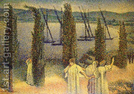 Coastal View with Cypress Trees, 1896 by Henri Edmond Cross - Reproduction Oil Painting