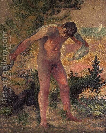 Bather drying himself at St. Tropez, 1893 by Henri Edmond Cross - Reproduction Oil Painting