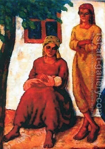 Gypsies from Dobruja (1927) by Stefan Dimitrescu - Reproduction Oil Painting