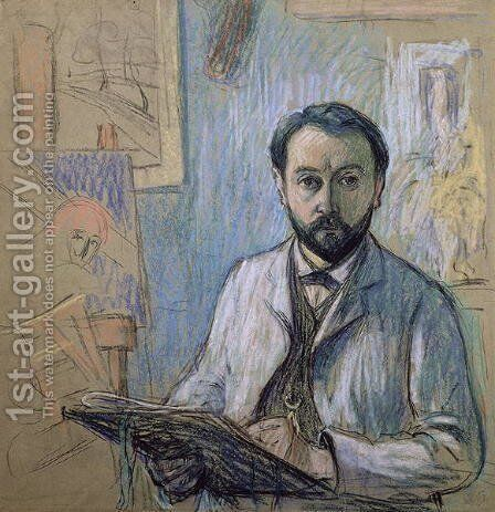 Self portrait in his studio by Claude Emile Schuffenecker - Reproduction Oil Painting