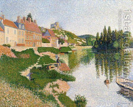 The River Bank, Petit-Andely, 1886 by Paul Signac - Reproduction Oil Painting