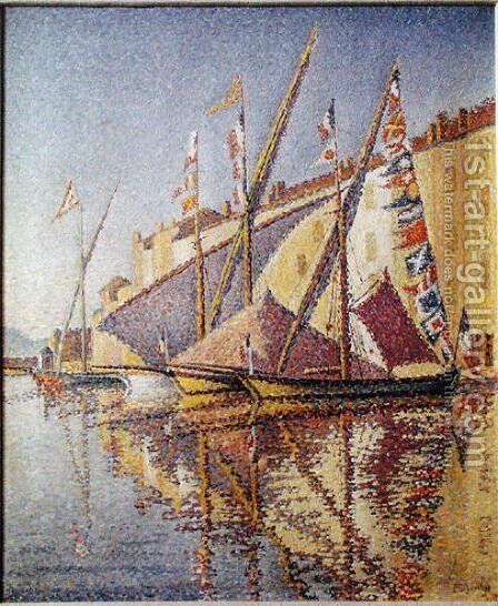 Sailing Boats in St. Tropez Harbour, 1893 by Paul Signac - Reproduction Oil Painting