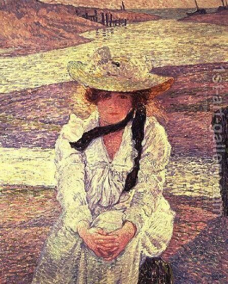 Young Woman on the Banks of the Greve River, 1901 by Theo van Rysselberghe - Reproduction Oil Painting