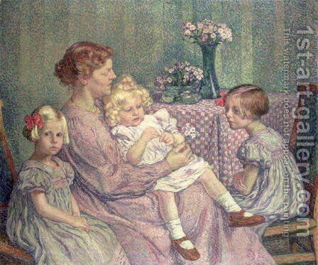 Madame van de Velde and her Children, 1903 by Theo van Rysselberghe - Reproduction Oil Painting