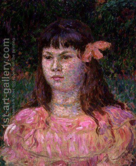 The Pink Ribbon (Sylvie Lacombe), late 1890s by Theo van Rysselberghe - Reproduction Oil Painting