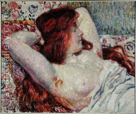 Woman with Red Hair, 1906 by Theo van Rysselberghe - Reproduction Oil Painting