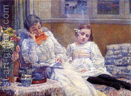 His wife Maria and daughter Elisabeth by Theo van Rysselberghe - Reproduction Oil Painting