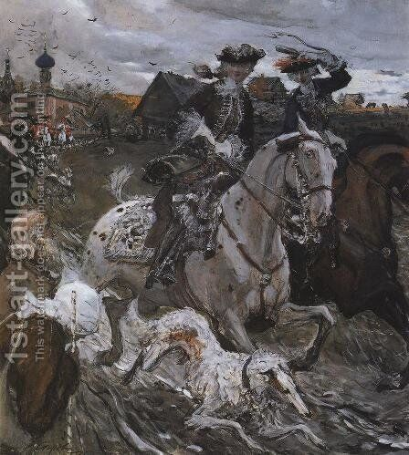Peter II (1715-30) and the Tsarevna Elizabeth (1709-62) Hunting, 1900 by Valentin Aleksandrovich Serov - Reproduction Oil Painting
