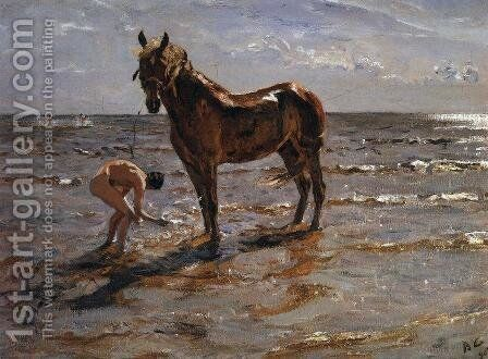 Bathing a Horse, 1905 by Valentin Aleksandrovich Serov - Reproduction Oil Painting