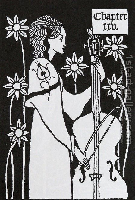 Lady with Cello, from 'Le Morte d'Arthur' by Aubrey Vincent Beardsley - Reproduction Oil Painting