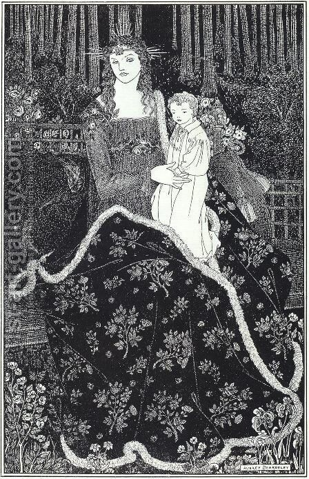 A large Christmas Card, 1895 by Aubrey Vincent Beardsley - Reproduction Oil Painting