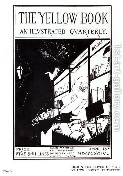 Front cover of the prospectus for 'The Yellow Book', 1894 by Aubrey Vincent Beardsley - Reproduction Oil Painting