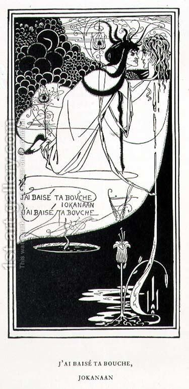 'J'ai baise ta bouche, Jokanaan (I kissed your mouth, John)' by Aubrey Vincent Beardsley - Reproduction Oil Painting