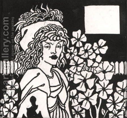 Chapter heading for 'Le Morte d'Arthur', 1893 (1) by Aubrey Vincent Beardsley - Reproduction Oil Painting