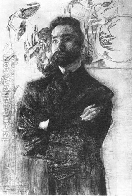 Portrait of the Poet Valery Briusov. 1906 by Mikhail Aleksandrovich Vrubel - Reproduction Oil Painting