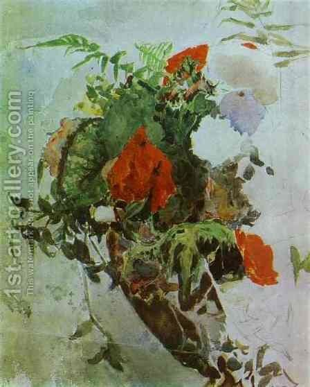 Red Flowers and Leaves of Begonia in a Basket. 1886-89 by Mikhail Aleksandrovich Vrubel - Reproduction Oil Painting
